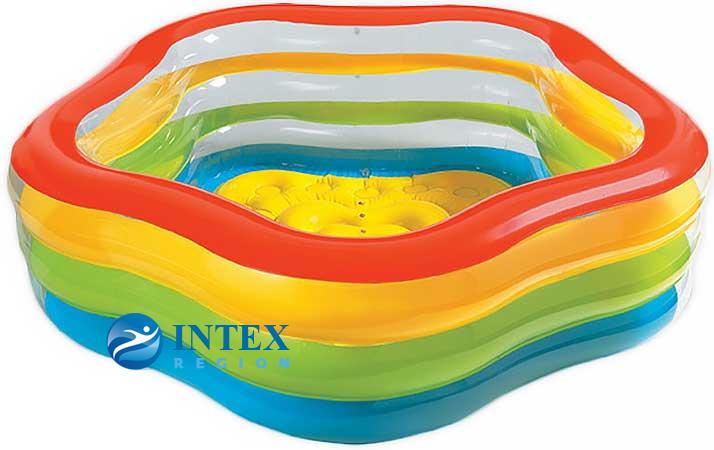 Бассейн Звезда с надувным дном Intex арт.56495 185х180х53см, от 3 лет