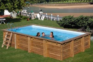 Прямоугольный деревянный бассейн 600x400х133 см EVORA GRE 790094