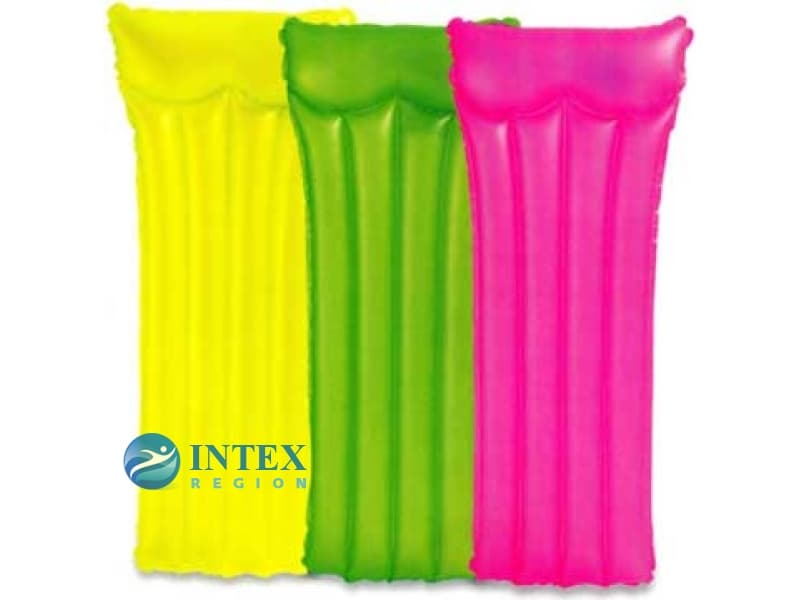 Надувной матрас неоновый с подголовником Intex арт.59717 183х76см, 3 цвета